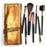 Vente de haute qualité 7 kit de pinceau de maquillage en sac en cuir doré élégant sac de maquillage portable brosses