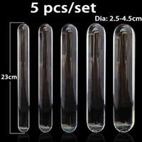 5pcs / set transparent glas dildo stor anal plug anus vaginal dilator masturbator penis dildos sexleksaker för kvinna dubbel dildo y200422