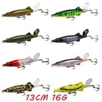 8pcs / lot 8 Colors Mixed 13cm 16g Popper Plastic Baits Hard Bits Lures Fishing Hooks 6# Blood Slot Hook Pesca Fishing Tackloots Bl_54