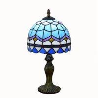 تيفاني الجدول مصباح مصباح الزرقاء الأوروبية المتوسطية زجاج ملون مصباح طاولة الإبداعية نوم السرير مكتب ضوء 20CM