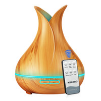 Humidificador de aire ultrasónico del difusor de aceite esencial de 400 ml con grano de madera 7 Luces LED cambiantes para el hogar