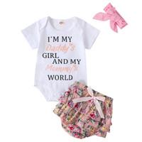 2020 아기 여자 의류 신생아 유아 점프 수트 Playsuit 여름 1-3T bowknot 순수한 색 머리띠 문자 인쇄 짧은 소매 장난 꾸러기를 설정합니다