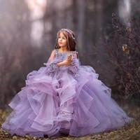 2020 Tulle 라벤더 꽃 소녀 드레스 구슬 어린 소녀 미인 드레스 긴 소매 공주 어린이 웨딩 드레스 꽃 소녀 드레스