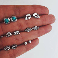 High quality stud earrings jewelry fashion inlaid turquoise ...