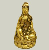 Apertura di loto rame puro Guanyin decorazione bodhisattva del guanyin statua in bronzo Putuoshan buddha statue