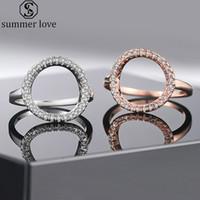 Círculo Abierto de oro rosa blanca nueva circonio cúbico anillo de plata del aro Karma Promise Declaración de anillo para las mujeres del aniversario de boda joyería-Z