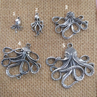 Art- und Weiseantiker silberner Deluxe Octopus Charm Collection Halskettenanhänger 18mmx33mm für Armband-Ohrring DIY Charme 40pieces / lot