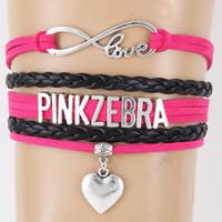Rosa Zebra Brief Armband Pfirsich Herz Armband
