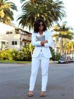Hand Tailored White Jacket and Pants 2 Piece Women Spring Su...