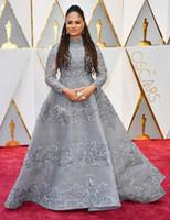 2019 새로운 Oscars 레드 카펫 엘리 사브 드레스 이브닝 높은 목 긴 소매 볼 가운 이브닝 드레스 파티 드레스 댄스 파티