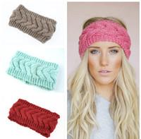 Häkelarbeitstirnband 24 Farben Wolle HäkelarbeitHeadbands Knit Haarband Winter warme Sport Stirnbänder Mädchen Headwrap Ohr Muffs Kopfbedeckungen