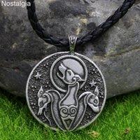 Kolye Kolye Nostalji Üçlü Kurt Muska Viking Talisman Takı Norse Wicca Ouija Ay Yıldız Hayvan Kolye Erkekler Pagan Büyücüsü