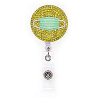 10pcs rotonda strass giallo con la Giornata Veil retrattile infermiera medica per il regalo ID Badge Holder Pull Reel dell'infermiera