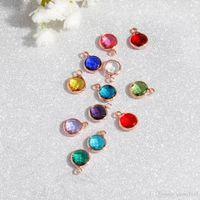 Moda cristallo charm ciondolo in metallo in metallo rosa oro colore 12 birthstone rhinestones rotondo 8.7mm per braccialetto per collana