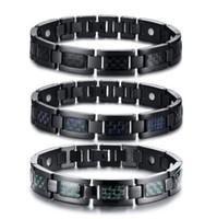 titânio fibra de carbono tricolor de aço quatro em um ímã magnética preta pulseira de homens Saúde Energia germânio Holograma Pulseiras