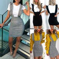 Frauen-Bügel-Röcke mit Rüschen Rüschen Bodycon abgeben Röcke Partei Fashion Damen High Waist Riemchen Bleistiftröcke