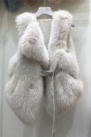 2020 Neues Design Luxus Frauen Faux-Fuchspelz PU gepatcht Leder Schärpen kurze Weste ciat sleeveless dünne Taille casacos