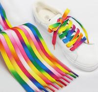 Arcobaleno Lacci piatto colorato di scarpe da ginnastica di moda merletto a strisce lacci colorati Arcobaleno stringa di scarpe per la scarpa da tennis di sport atletico Boot