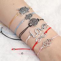 NUEVA hacer una pulsera del deseo Tarjeta elegante simple cuerda de la cera cadena ajustable multi-da forma a colgante tejido Pulseras para las mujeres regalo de las muchachas