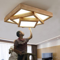 Nordic log room ceiling lamp simple bedroom geometry creative study solid wood living room lamp led ceiling light Le97