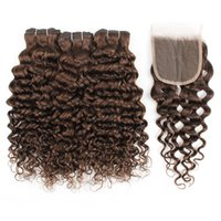 Kisshair scuro fasci di capelli marrone con chiusura # 4 Water Wave trame estensione dei capelli umani brasiliani con chiusura 4x4 pizzo