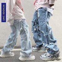 UNCLEDONJM 2020 черные джинсы плюс размер мужчин Разрушенный Stretch Fit Сыпучие хоп хоп брюки Мода Проблемные деним джинсовые меня-Z37 CX200701