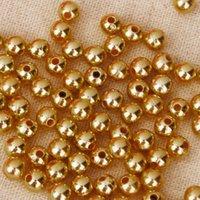 100 Pics Seed Beads acrilico perla Lotto a Golden i monili delle donne allentato semi di 6 millimetri