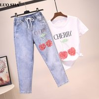 LUOSHA Donna 2019 Primavera Estate 2 pezzi Set Tshirt + Jeans Suit Ricamo Fruit Design Vita alta Strappato Hem Elegante Denim Pants Set