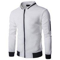 TANG 2019 Sonbahar Yeni Trend Beyaz Moda erkek Ceket Giyim erkek Veste Homme Bombacı Fit Argyle Fermuar Ceket Rahat Ceket
