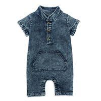 Kinder Designerkleidung Mädchenjungen Spielanzug INS Säuglingskleinkindsonnehut Denim-Overalls 2019 Sommer Boutique Baby Bekleidung Klettern