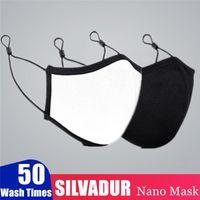 Máscaras SILVADUR Nano Cara 5 capas de preparación de protección 50 veces la boca de algodón Máscara Moda ajustable anti-polvo de la máscara facial de la válvula