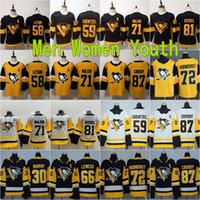 남성 청소년 여성 Sidney Crosby Jersey 87 피츠버그 펭귄 키즈 레이디 하키 경기장 71 Evgeni Malkin Phil Kessel 72 Patric Hornqvist