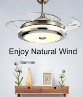 Luci moderne di alta qualità LUCI INVISIBILI ACRIBILE FOGLIA ACRIVI LED Ventilatori a soffitto 110V / 220 V Ventilatore di controllo wireless