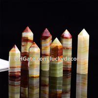 5pcs Natural Carved afegão Jade Cristal Obelisco de quartzo polido Pyramid Individual Terminado Torre Ponto de Reiki Energia avançado Wand