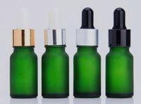 10ml huile essentielle verre flacon compte-gouttes dépoli vert parfum e bouteille en verre liquide personnalisé impression logo et emballage