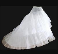 Venta caliente Blanco 3-Hoop 2-capa boda nupcial de la boda crinolina camiseta de crinolina con trenes de barrido Novia de novia Boda Petticoats En stock
