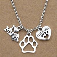حار بيع الفضة القديمة أنا أحب بلدي dogsdog باو printbest صديق القلب سحر قلادة قلادة الرجال والنساء الأزياء والمجوهرات هدية