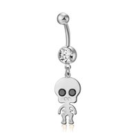 Cut Cartoon Skeleton Pendant Belly Button Rings Punk Style F...