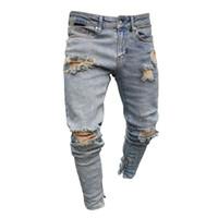 Mode-Denim Blue Rined Designer Jeans Herren Kleidung Drapierte Slim Fit Löcher Reißverschluss Bleistift Hosen Hombes Pantalones