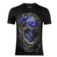 Роскошные мужские дизайнерские футболки с коротким рукавом мужчины Париж бренд Clothing мода горный хрусталь череп женщины футболка мужской высокое качество хлопка тройник B977