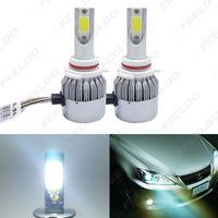 Lâmpada LED All In One LED farol do carro 9006 / HB4 2-COB 6500K 72W 7600LM Auto Foglight Farol # 2884