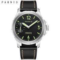Casual Watch Men 40mm Hand- Winding Black Dial Stainless Stee...