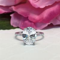 Stunning coppia anelli di gioielli taglia 5-12 uovo uovo taglio ovale bianco cz cubico zircone diamante eternity wedding anello di fidanzamento anello di fidanzamento