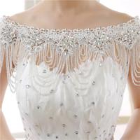 Collar de hombro de la novia de cristal de abalorios collar de diamantes de imitación de boda de la moda de la moda de la moda de la moda chaquetas nupciales hechas a medida para el vestido de novia bohemio