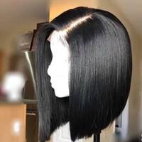 레이스 프런트가 인간의 머리 가발 검은 색 여성 스트레이트 BOB 가발 레미 블랙 매듭 브라질 헤어 사전 뽑아 아기 머리