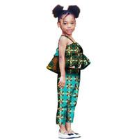 2019 Yaz Afrika Çocuk Giyim Bebek Setleri Yeni Faashion En Pantolon kızın Baskı Balmumu Rahat Pantolon Kazak WYT41 Suits
