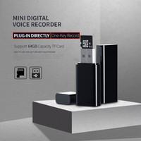 Super Mini USB Disk Digital Voice Recorder Tragbare USB-Flash-Laufwerk Mini Audio-Voice-Recorder unterstützen eine Tastenaufnahme mit TF-Kartensteckplatz