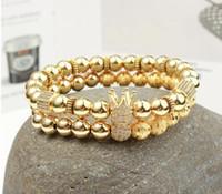 2 pz / set Micro intarsio zircone tappo rotondo uomini corona fascino braccialetto perline naturali buddha braccialetto per le donne pulseras masculina