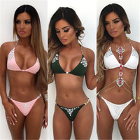 Abiti Bikini Swimsuit 2019 donne Swimwear caldo di perforazione reggiseno Bikini Push Up Swimwear bagna costume da bagno femminile spiaggia a vita alta