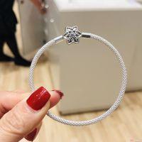 2019 NOUVEAU S925 argent sterling mousseux bracelet fermoir à cinq branches étoile Fit Pandora Bijoux DIY